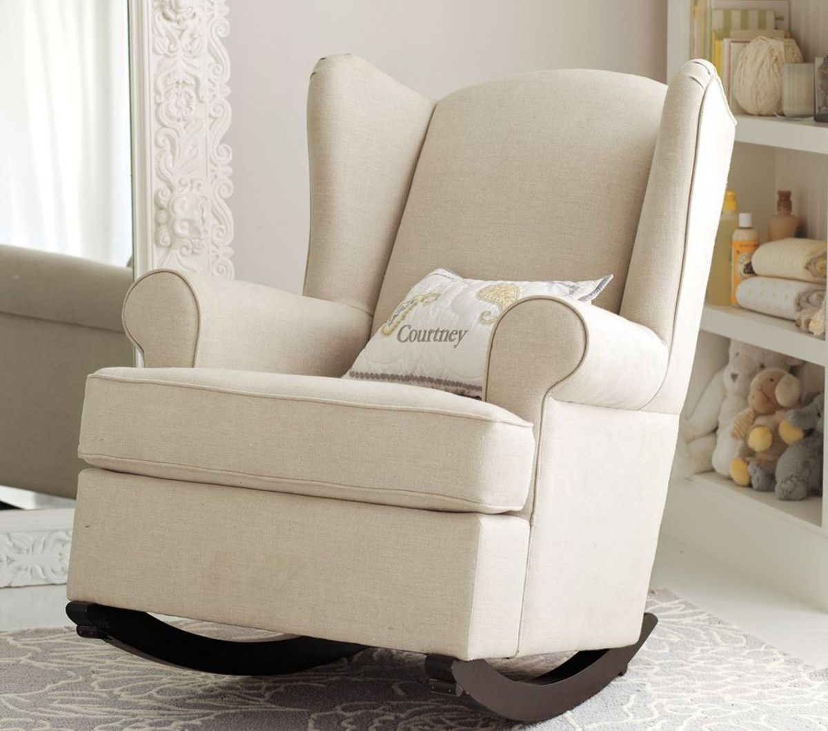Wingback Rocker and Ottoman Baby rocking chair, Rocking