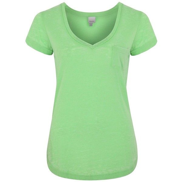 BENCH SixFive Top ($10) ❤ liked on Polyvore featuring tops, t-shirts, shirts, blouses, tees, summer green, green shirt, green t shirt, summer t shirts and vneck t shirts