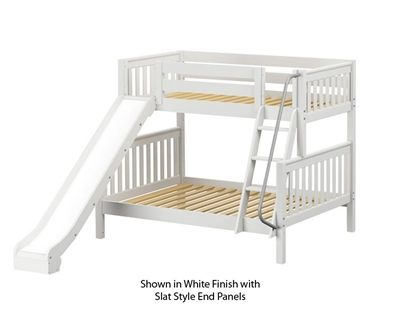 Maxtrix Slick Bunk Bed W Slide Twin Over Full Size White In 2019