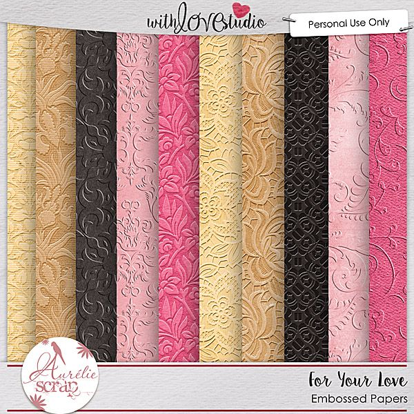 For your love {Embossed Papers} from Aurelie Scraps. This beautiful gold, pink and black color palette is perfect for love inspired digital scrapbooking layouts and more.