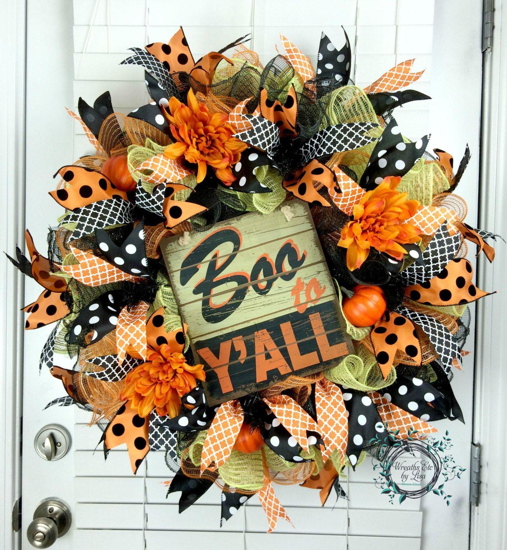 Deco Mesh Wreath - Halloween Wreath - Boo To Y\u0027all - Fall Wreath - halloween front door decor