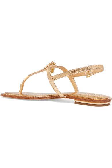 e480ae4da36f6 MICHAEL Michael Kors - Suki Embellished Metallic Snake-effect Leather  Sandals - Gold - US5