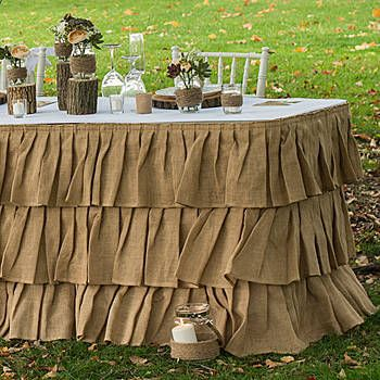 ur Tiered Ruffle Burlap Table Skirt features three cascading tiers of beautiful natural jute burlap. This table skirt hangs down 30 inches and is 21 feet long.