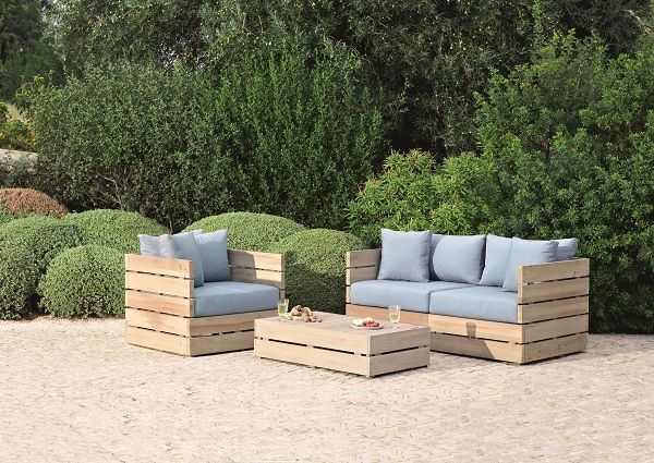 beau petit salon de jardin en bois | Décoration française | Salon de ...