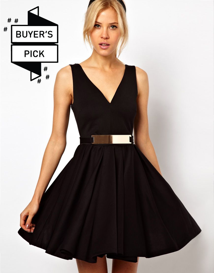 Structured Skater Dress With Gold Belt By Asos Gorgeous Clothes Cute Short Dresses Asos Black Dress [ 1110 x 870 Pixel ]
