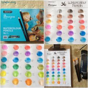 aldi watercolour pencils free colour chart template colouring