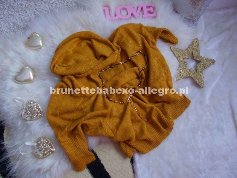 Promod Stylowy Sweter Zlota Nitka Nietoperz Golf Clothes Baby Onesies Onesies