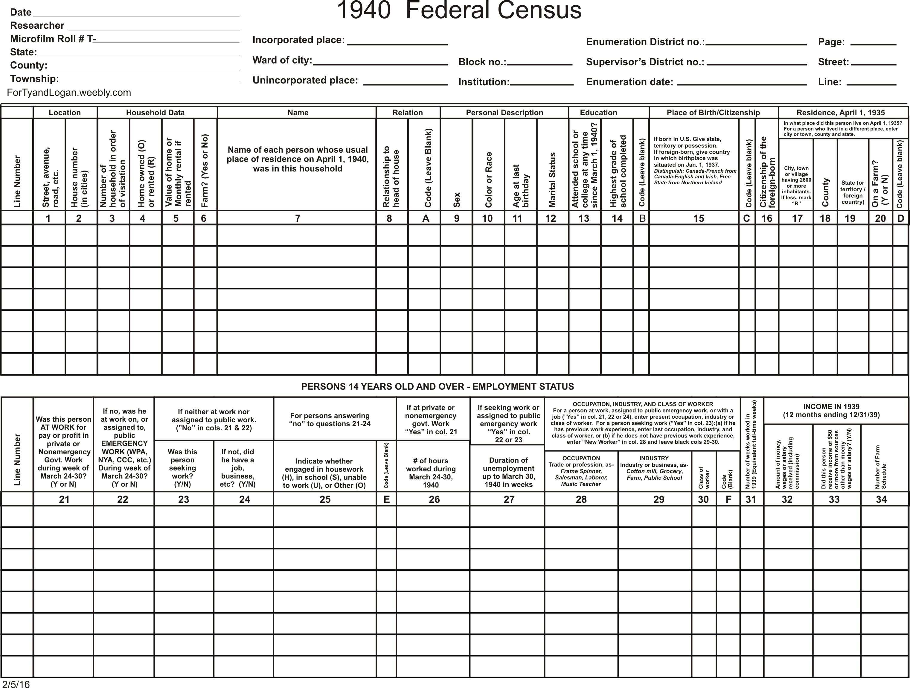 Download the 1940 census template files for free! Censustools.