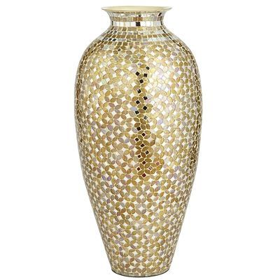 Gold Silver Mosaic Vase Tall Home Accents Marital Bliss