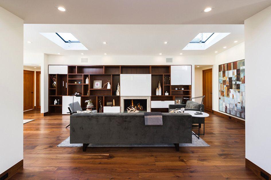 Interior Square Shaped Skylight Grey Sofa Parquet Teak Wood Varnished Spotlight Grey Carpet P House Design Contemporary Interior Design Modern Interior Design