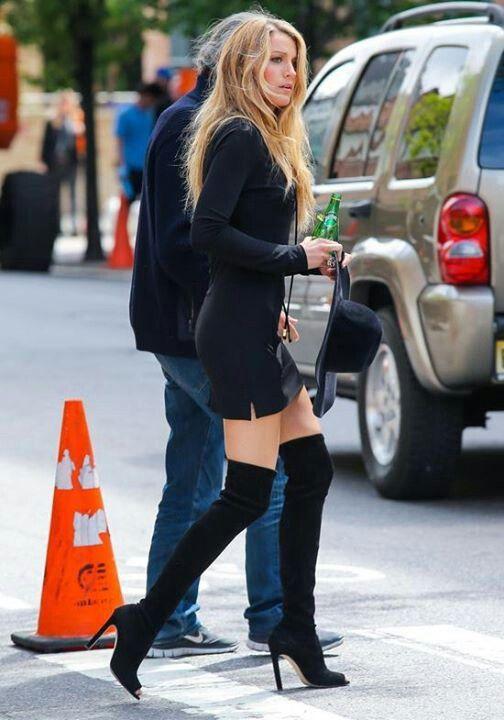 392536257 Black knit minidress and OTK high heel boots