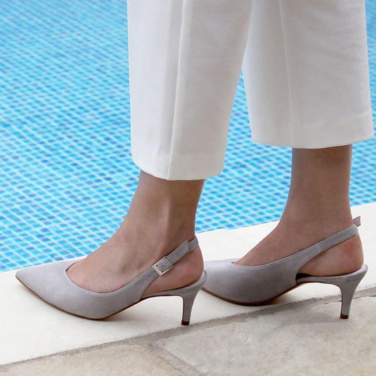 Ayda: Pale Grey Suede   Fashion sandals