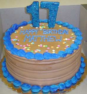 Teenage Boy Birthday Cakes Specialty Brown And Blue Buttercream