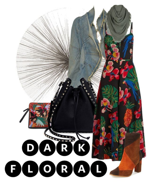 """""""dark floral"""" by rubystripes ❤ liked on Polyvore featuring Tisch New York, Valentino, Matisse and White + Warren"""
