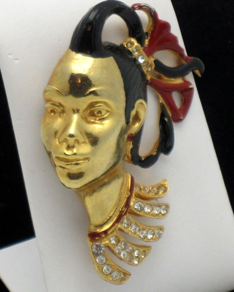 Rare Vintage 1940's Large  Figural African Princess Enamel Face Brooch Book Piece. Purchase from http://stores.ebay.com/A-Touch-of-Rose-Vintage-Jewels