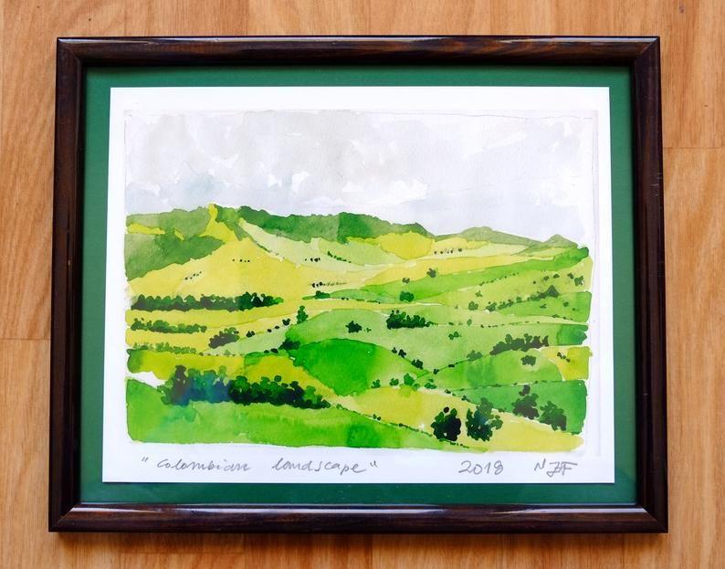 Watercolor Print Colombian Landscape Framed Painting Green Art Print Wall Art Aquarelle