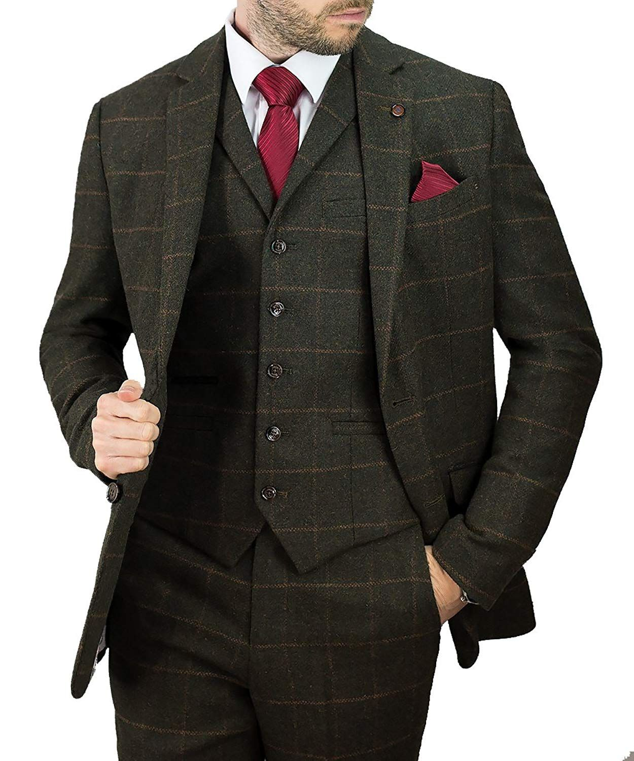 fcc717c10b325 Cavani Kemson Olive Men 3 Piece Tweed Suit: Amazon.co.uk: Clothing ...