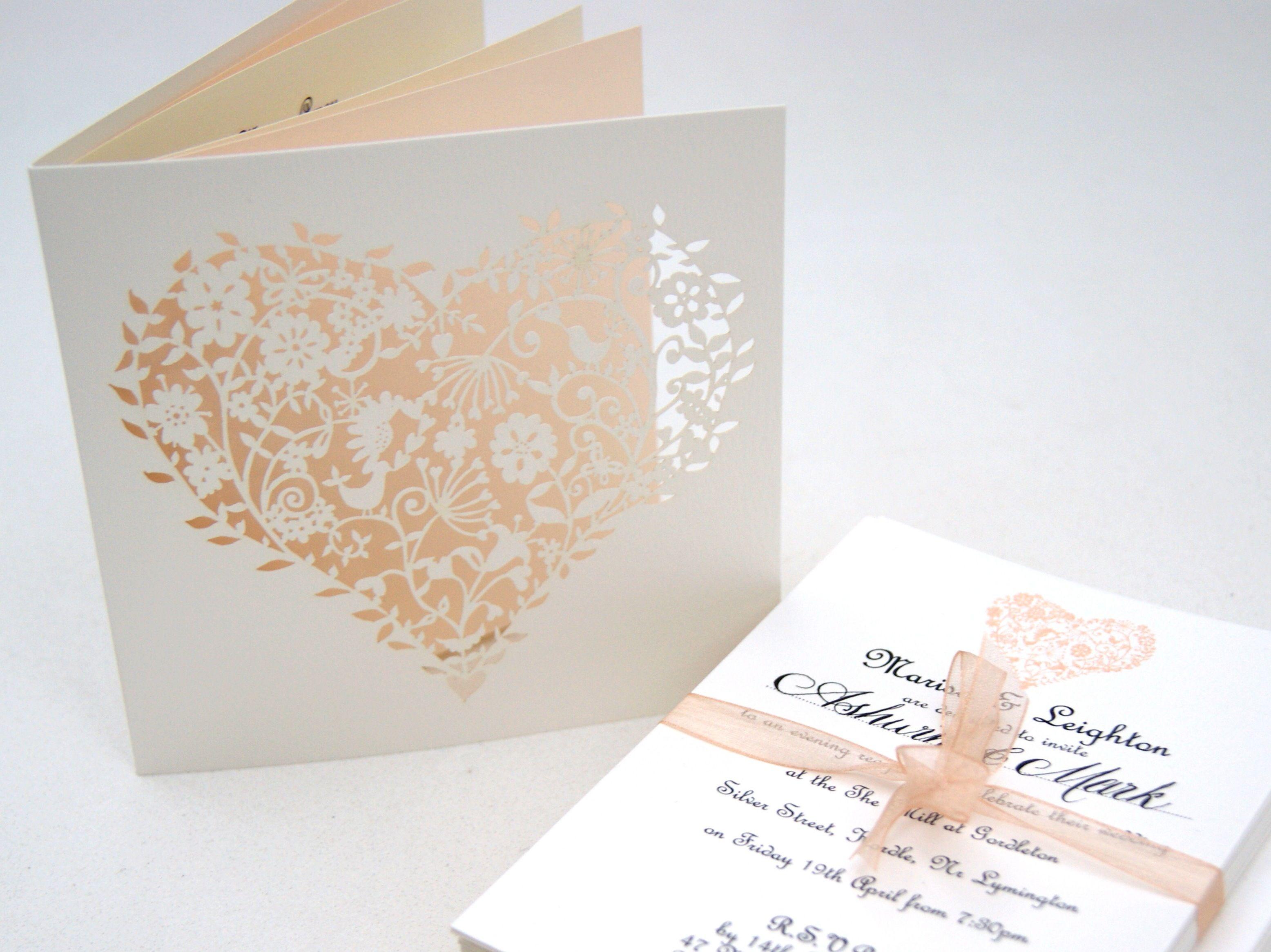 Cheap heart wedding invitations