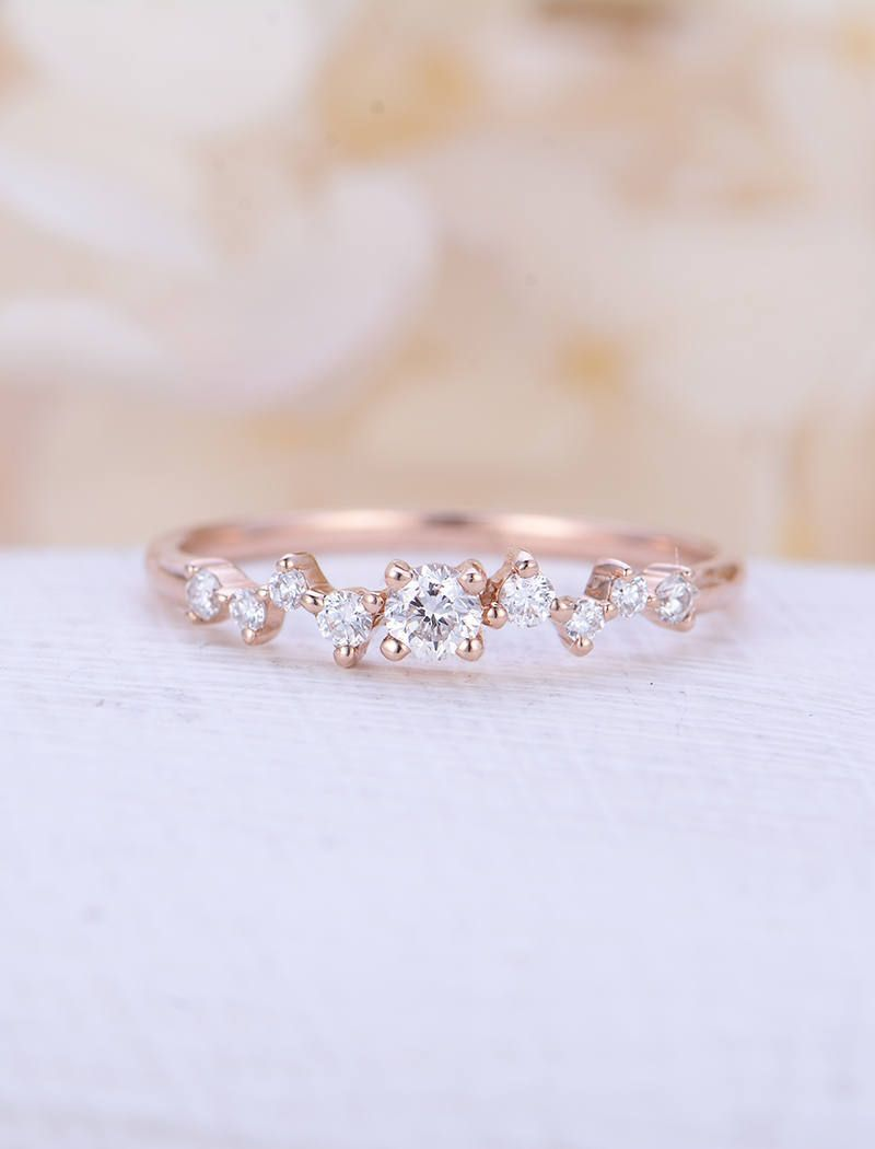 31280b57bca72 Diamond Cluster ring Twig engagement Ring Rose Gold Mini Floral ...