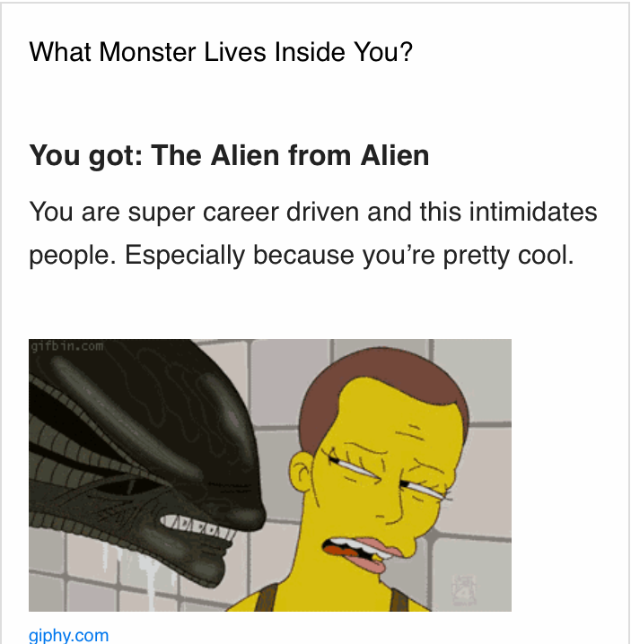 What Monster Lives Inside You? These are my results.. of course I'm cool.