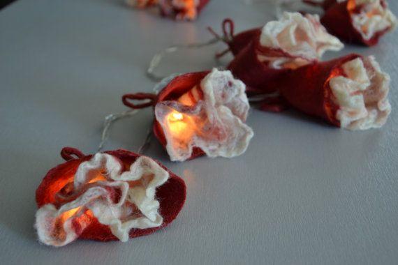 String Light Romantic Red Brick Retro Flowers Gift  by UrsulaShop, $58.00