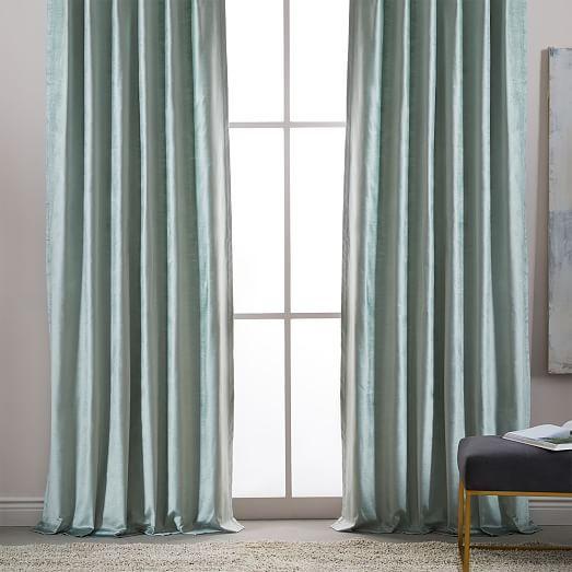 Cotton Luster Velvet Curtain - Dusty Blush