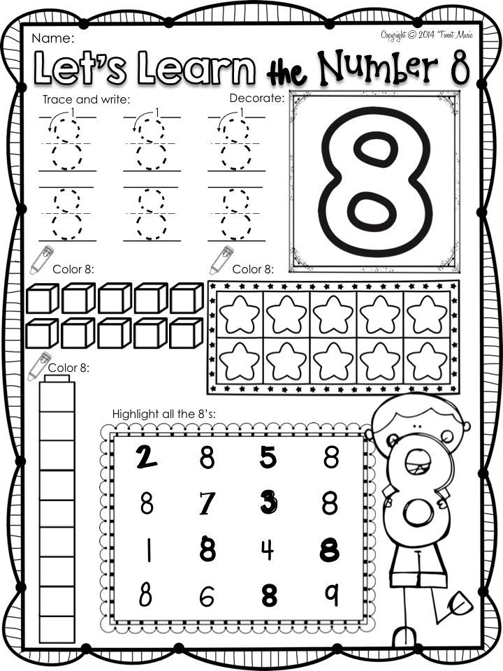 Freebie All About The Number Eight Numbers Preschool Kindergarten Math Preschool Math