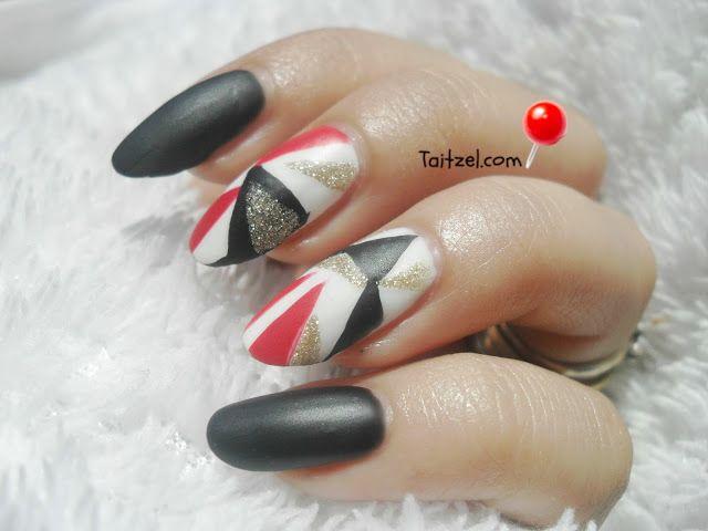 Manichiura cu model geometric / geometric nail art | Nail art ...