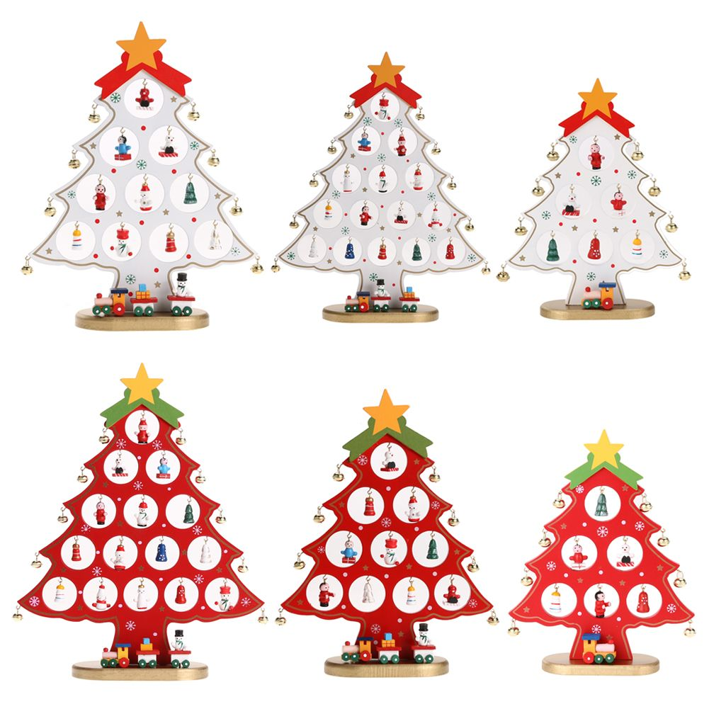 Wooden christmas tree home decoration xmas tree snowman ornament red