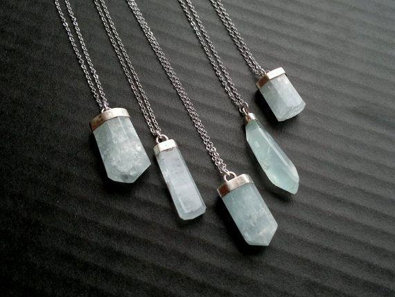 Aquamarine Necklace Aquamarine Pendant Blue Stone by SinusFinnicus