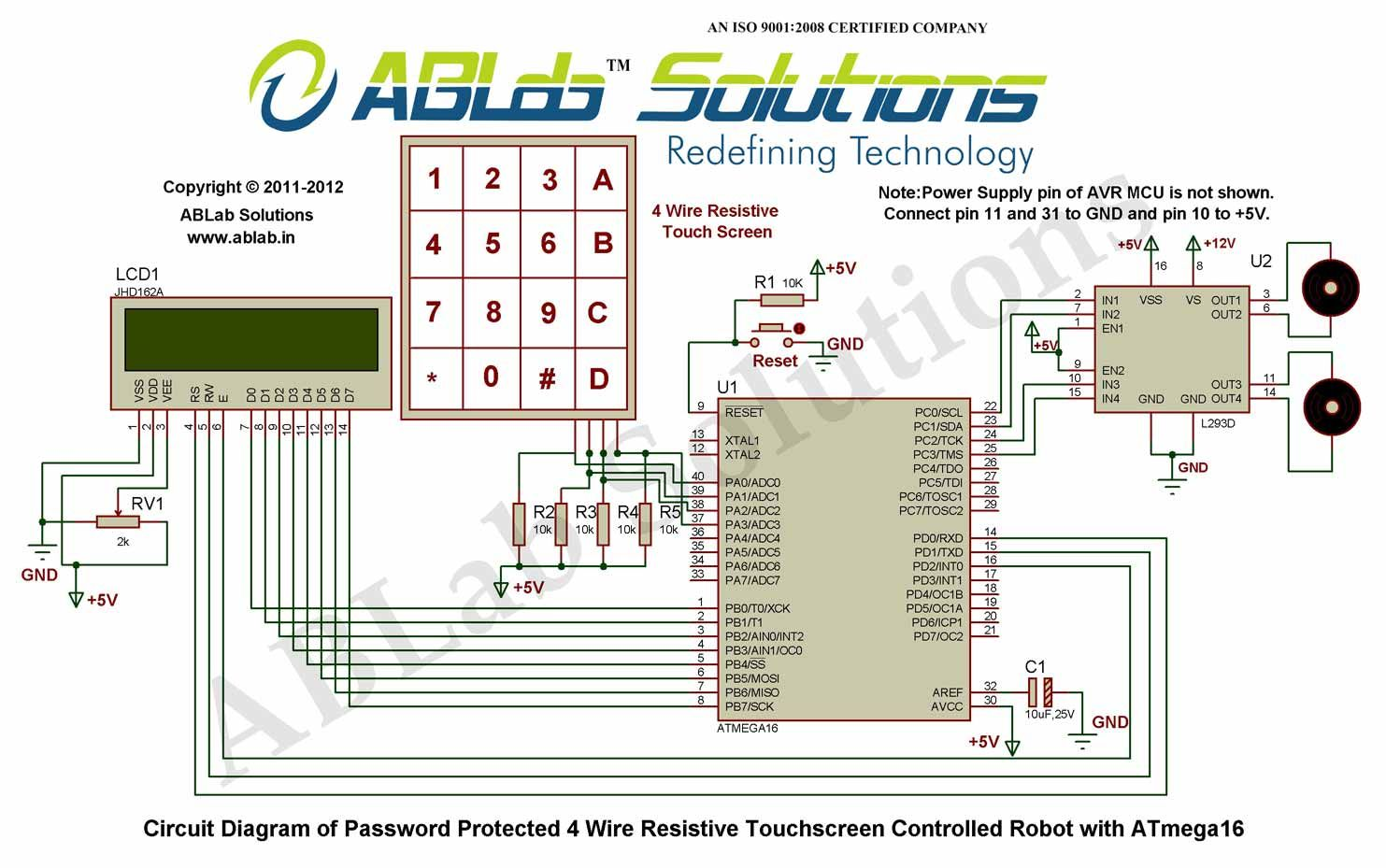 hight resolution of password protected 4 wire resistive touchscreen controlled robot touch screen circuit diagram