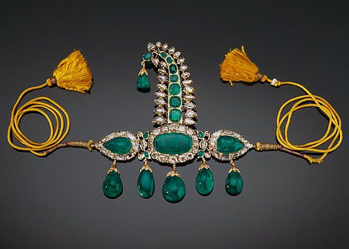 Ornement de Turban - Or, Emeraudes et Diamants -  Inde - Vers 1900