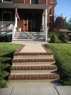 Concrete Brick Steps Brick Steps Concrete Steps Porch Steps | Front Yard Stairs Design | Entry | Uphill | Step | Residential | Main Door Stair