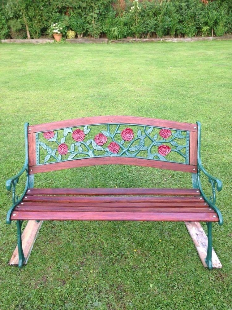L Ovely Cast Iron Garden Bench Ebay With Images Garden