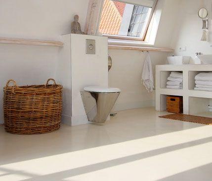 Microcemento en suelo ba o blanco ba os pinterest - Banos con microcemento alisado ...