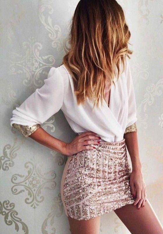 White Patchwork Sequin V-neck Long Sleeve Mini Dress