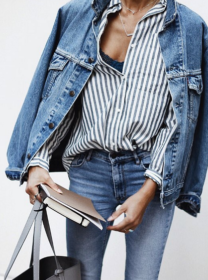 7a5d9e7692bb Layer up in double denim. Pair true blue denim with an oversized jean  jacket, striped top and neutral leather tote bag for an easy everyday  outfit.
