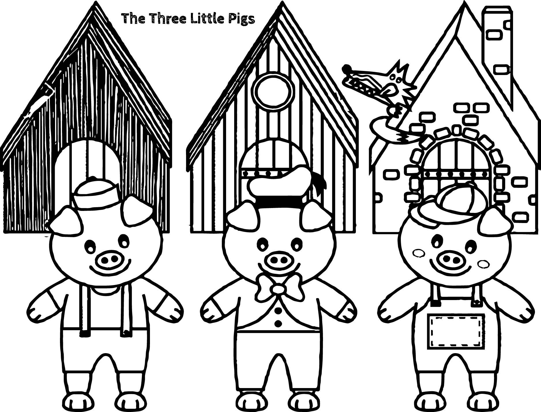 Awesome Three Little Pigs And The Big Bad Wolf Children Story Coloring Page Cartoon Coloring Pages Little Pigs Coloring Pages