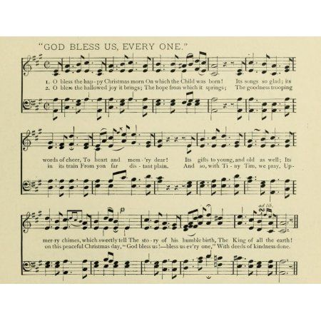 God Bless us Everyone Christmas in Song 1891 Canvas Art - (24 x 36