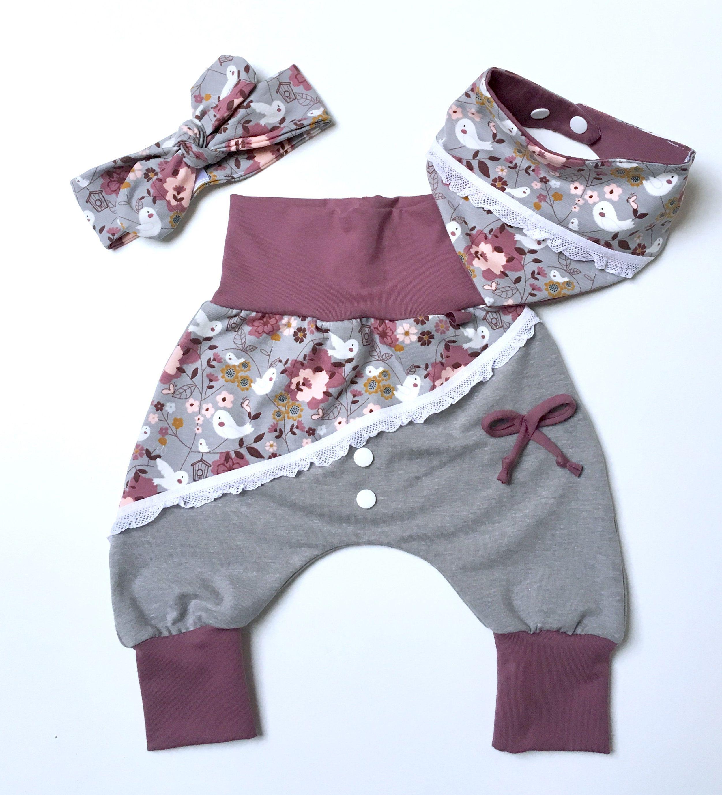 Babyset Mädchen Pumphose Halstuch Mütze grau/beere