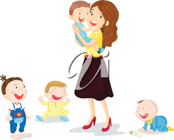 Illustration Of Kids With Mom Illustration Mommy Dearest Four Kids