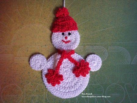 un petit bonhomme de neige réalisé grâce au modèle trouvé (parmi