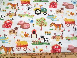 Fabric Baby Farm Animals Funny Farm on Lime Green Cotton by the 1//4 yard