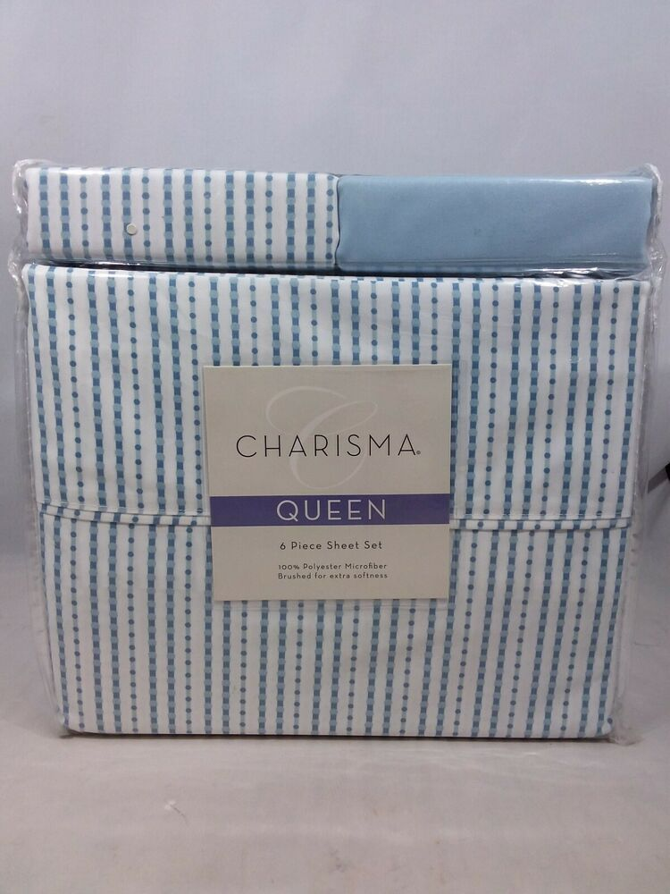 Charisma Six Piece Sheet Set Queen 100 Microfiber Polyester Ribbons Glacier Charisma Sheet Sets Queen King Duvet Set Queen Comforter Sets