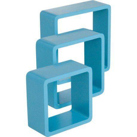 3 Etageres Cubes Bleu Atoll N 4 Color Spaceo L28xp28cm L24xp24cm L21xp21cm Etagere Murale Leroy Merlin Etageres Murales Parement Mural