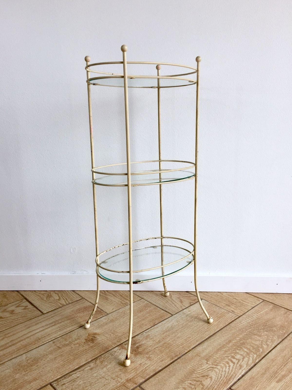Vintage Glass Metal 3 Tier Standing Shelf Plant Stand Shelving