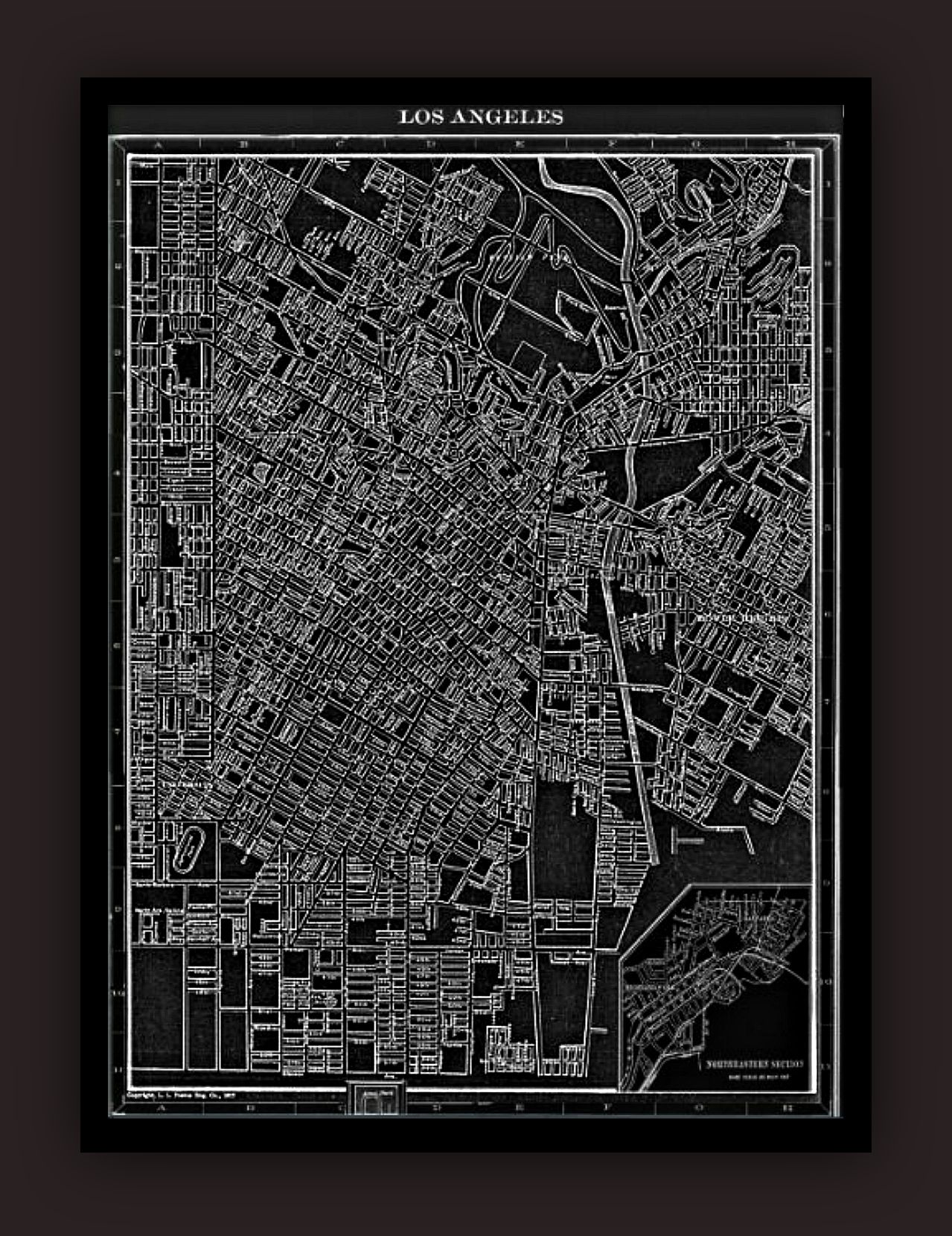 Los Angeles Early S Lithograph Map Vintage Lithograph Maps - Los angeles poster black and white