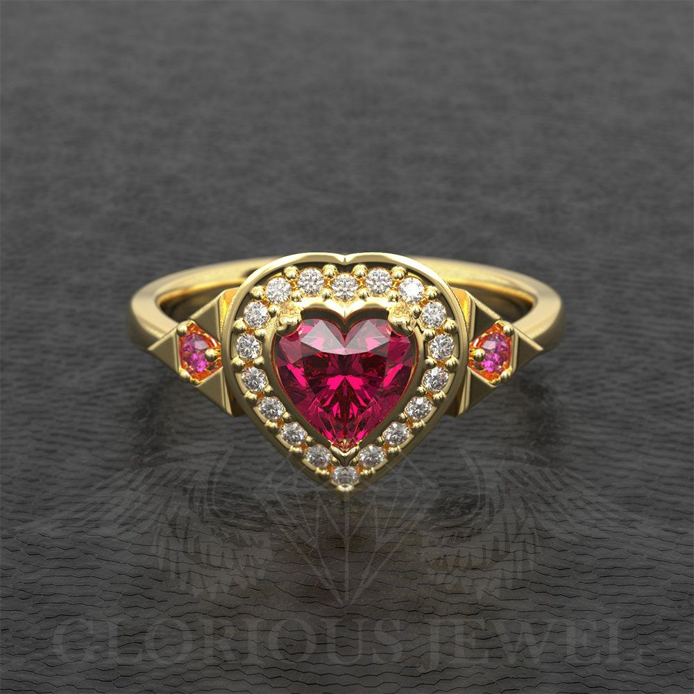 Natural Ruby And Real Diamonds Zelda Inspired Heart Container Etsy Real Diamonds Natural Ruby Warrior Ring