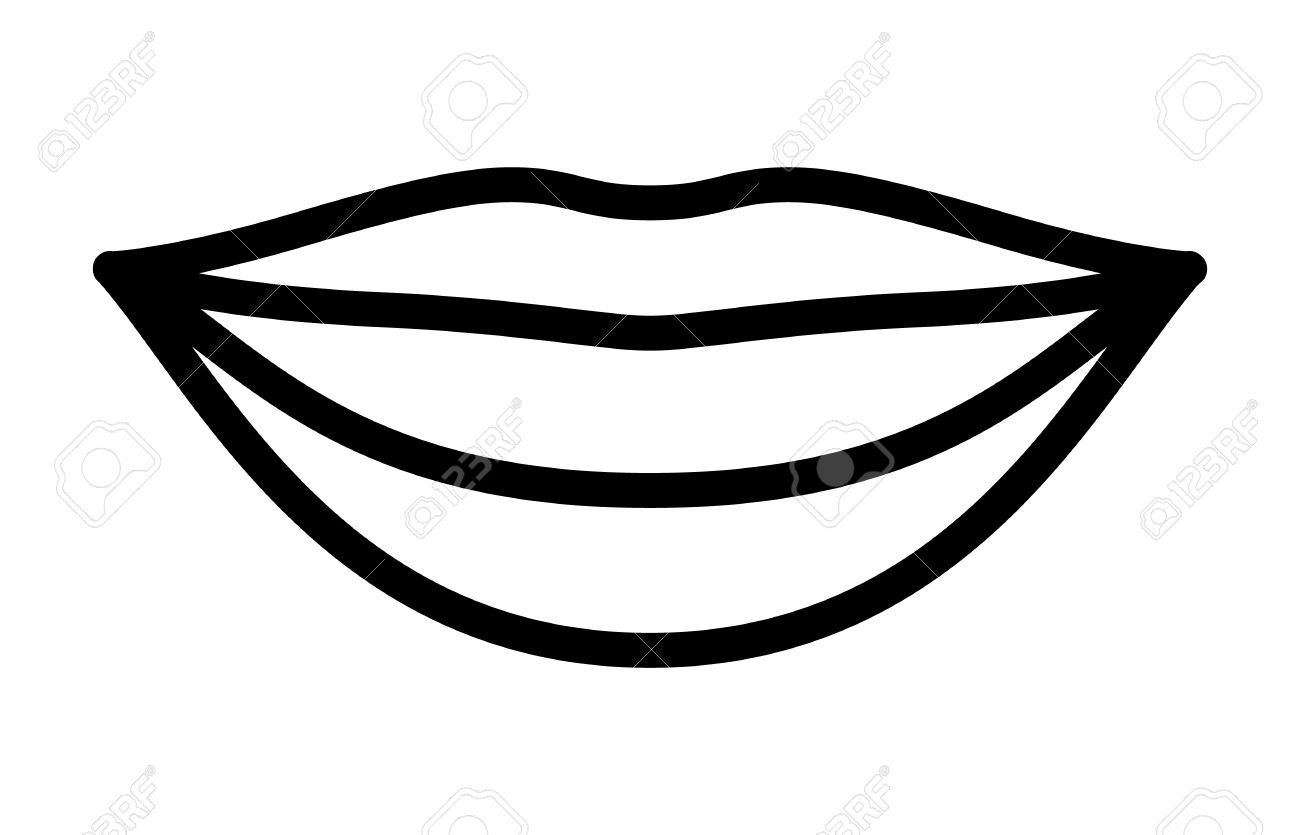 Smiling Lips With White Teeth Or Smile Line Art Vector Icon For Line Art Vector Clip Art Lips