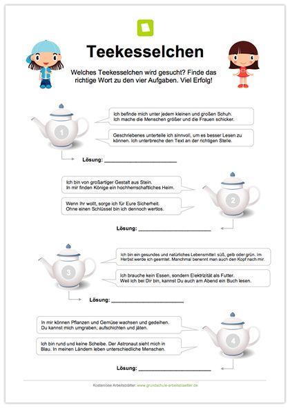 NEU: Rätsel / Teekesselchen: Die Kinder sollen 4 Teekesselchen ...